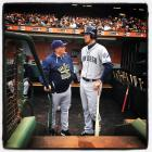 San Diego Padres manager Pat Murphy talks to Wil Myers in the dugout before the game against the San Francisco Giants at AT&T Park in San Francisco on Saturday, September 12, 2015.