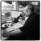 San Francisco Giants Hall of Fame broadcaster Jon Miller calls the top of the 5th inning in the KNBR radio booth during the game between the Arizona Diamondbacks and Giants at AT&T Park in San Francisco on Sunday, Sept. 20, 2015.