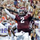 Johnny Manziel celebrates after throwing a touchdown against the Florida Gators on Sept. 8, 2012.