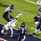 Johnny Manziel dives for a touchdown during Texas A&M's 41-38 win against Ole Miss on Oct. 12, 2013.