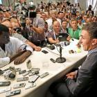 Johnny Manziel talks with reporters during SEC Media Day in Hoover, Ala., on July 16, 2013.
