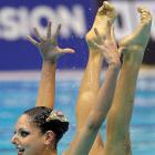 Linda Cerruti and Costanza Ferro, from Italy, perform during the duet synchronized final at the European Championships in Berlin.