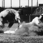 Lou Gehrig puts a tag on St. Louis Browns first baseman George Sisler in St. Louis in 1927.