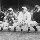 Lou Gehrig, Tris Speaker, Ty Cobb, and Babe Ruth pose during a Philadelphia Athletics series at Yankee Stadium during the 1927 season.