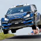 Mikko Hirvonen and Jarmo Lehtinen of Finland catch some air in the WRC Germany on August 24.