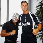WWE star Rey Mysterio with Cristiano Ronaldo as they visit Valdebebas in Madrid.