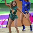 Jennifer Lopez and Claudia Leitte during the Opening Ceremony at Arena de Sao Paulo on June 12.