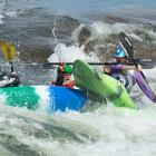 """A three-boat pileup in the top feature during the carnage of the 8-ball event …. something like """"demolition derby for kayaks."""""""