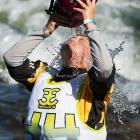 Payette River Games 2014 women's champion Emily Jackson cools off before taking her winning ride.