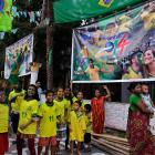 Indian supporters of Brazil in Kolkata, India, cheer for their team ahead of the inaugural match of the World Cup. Nearly half the world's population, well over 3 billion spectators, is expected to watch soccer's premier event.