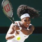 Serena Williams plays Maria Sharapova in a semifinal match at the 2015 Wimbledon Championships.