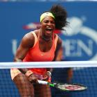 Serena Williams in action against Kiki Bertens at the 2015 U.S. Open.