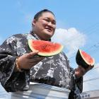 A more authentic Sumo just feelin' melon in Fuso, Aichi, Japan.