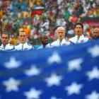 The U.S. team sings the national anthem ahead of its group stage matchup against Germany.