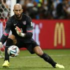 Tim Howard makes a save in extra time of the U.S.-Belgium Round of 16 match in the World Cup at Arena Fonte Nova in Salvador, Brazil.  The American goalie made a total of 16 saves on the night, setting a new record for the most saves in recorded World Cup history.