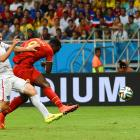 Belgium's Romelu Lukaku shoots and scores his country's second goal of extra time against the U.S.