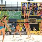 Whitney Pavlik goes up for the strike at the AVP Cincinnati Open over Labor Day weekend.