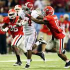 Yeldon isn't as decorated as many running backs on this list, and he's not even the starter on his own team, backing up Eddie Lacy. Still, when the ball is in Yeldon's hands, amazing things happen. To wit: Yeldon's dramatic 28-yard touchdown reception helped the Tide top LSU, and his 25-carry, 153-yard effort gave 'Bama a boost in the SEC title game.