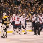This tense, hard-fought series was the first in NHL history to produce seven one-goal and four overtime games. In Game 7, the Capitals led 1-0 when Tyler Seguin tied the score at 14:27 of the second period. The defensive battle, and Boston's reign as Stanley Cup champions, ended 2 minutes 57 seconds into OT when Caps fourth-liner Mike Knuble drove to the net, shot, and collided with Bruins goalie Tim Thomas as Joel Ward backhanded the rebound into the net for his first goal since January 7.
