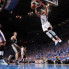 Russell Westbrook scores a slam dunk during Game 3 of the Western Conference Finals.