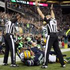 Disgruntlement over the replacement referees was taken to the next level after Seattle wideout Golden Tate shoved a Green Bay defender out of the way on the final play and was awarded a touchdown for getting his hands on a ball that appeared to be intercepted the Packers. The stunned Packers, most of whom had left the field in horror, were called back onto the field so the Seahawks could kick a meaningless extra point to seal the 14-12 victory.