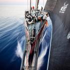 Michi Mueller of Germany adjusts the sail onboard PUMA Ocean Racing powered by BERG as the boat flies from Itajai, Brazil, to Miami during the sixth leg of the Volvo Ocean Race.