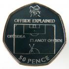 "The United Kingdom's Royal Mint is releasing a series of 29 new 50-pence pieces, each featuring a different Olympic sport, including a soccer coin that on one side features a diagram explaining the concept of ""offside."" <italics>Jan. 16 issue</italics>"
