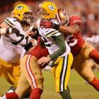 The 49ers kept the pressure on Aaron Rodgers all night, sacking him once and coming up with one interception.