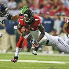 Julio Jones had a quiet day by his standards, gaining 59 yards and no touchdowns on six receptions.