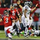 Atlanta kicker Matt Bryant celebrates his game-winning field goal with eight seconds remaining.