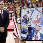 Maryland's former head coach is clearly thrilled by the portrait of him that was unveiled during a solemn halftime ceremony in College Park.