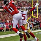 Julio Jones had a monster game, hauling in 11 balls for 182 yards and two touchdowns.
