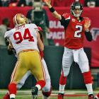 Matt Ryan passes for 396 yards and three touchdowns, but also was intercepted once and lost a fumble.