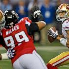 Unlike in the divisional round, when he ran for a quarterback-record 181 yards, Colin Kaepernick ran only two times for 31 yards against the Falcons.
