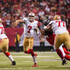 Colin Kaepernick completed 16 of 21 passes for 233 yards and one touchdown.