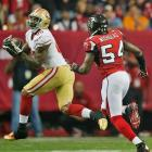 The Falcons got burned repeatedly by Vernon Davis, who caught five balls for 106 yards and one touchdown.
