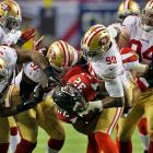 The 49ers held Jacquizz Rodgers and the Falcons to 81 yards rushing and no touchdowns.