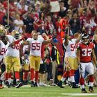 The 49ers sideline started celebrating their Super Bowl berth after the Falcons were turned back in the final minute.
