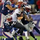 Dennis Pitta made some tough catches against the Patriots en route to finishing with 55 yards and one touchdown.