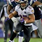 Ray Rice had 70 yards of total offense and scored on a two-yard run to put Baltimore up 7-3.