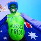 An Aussie fan shows his enthusiasm for a nation that has no players left in either singles draw.