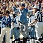 An upset Tom Landry shows some uncharacteristic emotion on the sideline. Landry's Cowboys were the first wildcard team to reach the Super Bowl, beating the Minnesota Vikings on a late Hail Mary and destroying the Los Angeles Rams 37-7 in the NFC Championship Game. They lost to the Steelers in this Super Bowl, 21-17.