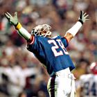 Defensive back Everson Walls basks in the triumph after his New York Giants' 20-19 win over the Buffalo Bills. The Giants overcame a 12-3 deficit to claim the only Super Bowl decided by one point.