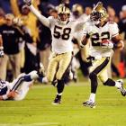 Tracy Porter races with his interception return, taking it 74 yards for a touchdown. The New Orleans cornerback picked off Indianapolis Colts quarterback Peyton Manning, and his scored iced the Saints' 31-17 win.