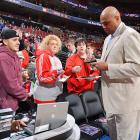 Details about this one are sketchy, but the photo of Sir Charles was taken at the Spurs-76ers basketball game at Wells Fargo Center in Philadelphia, where it's supposedly always sunny -- just like his disposition.
