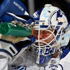 Tampa Bay Lightning goaltender Anders Lindback squirts himself in the face with water in the second period of the Lightning's game against the New York Islanders on Jan. 21. Lindback made 40 saves, but that was one too few as the Islanders won 4-3.