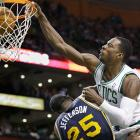 A tweener who does a little bit of everything for the Celtics, Jeff Green has never been a big dunker. But he plays the part well (note the post-dunk staredown) in this slam over Al Jefferson.