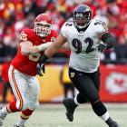 About $800,000 behind their defensive line mates, defensive tackles earn the third most on average. Haloti Ngata and Terrell Suggs rank No. 2 and No. 4 on the list of highest-priced defensive tackles. With the Ravens in the Super Bowl, probably not too many people in Baltimore are going to complain about the pairing's $22.6 million combined average salary.