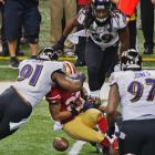 LaMichael James's fumble off a tackle by Courtney Upshaw was recovered by Baltimore and turned into points.