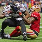 The 49ers were flagged for a face mask penalty against Ed Dickson, one of their five infractions on the night.